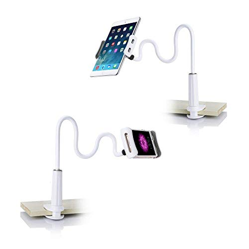 Raking Universal iPhone Holder/iPad Stand/Cellphone Stand/Tablet Mount Holder Lazy Bracket, Compatible with 5-10 inch Apple Phone, iPad Mini, iPad Air, Samsung S6, Samsung Tablets (White)