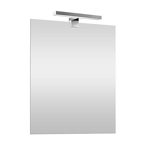 Specchio con Lampada LED 70x90 cm REVERSIBILE, specchiera a filo lucido, Lampada cromo 30 cm a risparmio energetico