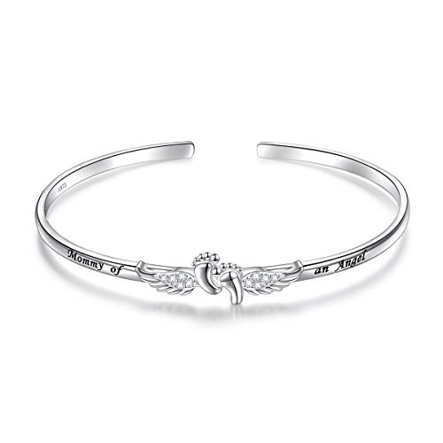 S925 Sterling Silver Infant Child Loss Memorial Mommy of An Angel Miscarriage Sympathy Gift Pregnancy Loss Stillborn Bangle for Women