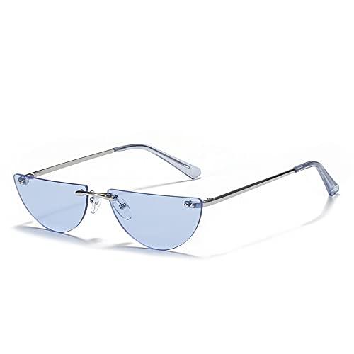 FEINENGSHUAInstyj Gafas Sol Mujer, Gafas de Sol estrechas Mujeres y Hombres Moda Gafas de Sol Rojas Semi-Ronda Lentes Gafas de Fiesta (Lenses Color : Blue)