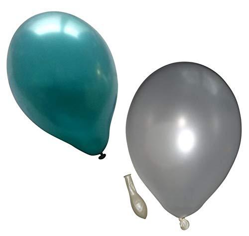 50 metallic Luftballons je 25 weiß & türkis Qualitätsballons 27 cm Ø (Standardgröße B85)