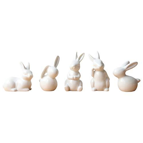 IMIKEYA 5Pcs Ceramic Rabbit Figurine Porcelain Rabbit Bunny Figurine White Hand Painted Ceramic Miniature Terrarium Decoration Ornament White