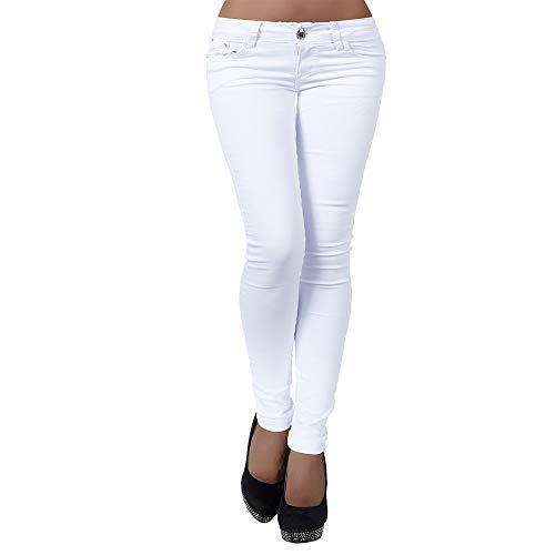 Damen Jeans Hose Hüfthose Damenjeans Hüftjeans Röhrenjeans Röhrenhose Röhre H937, Farbe: Weiß, Größe: 40 (L)
