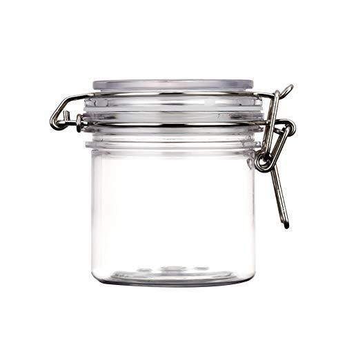 2 Pcs Masque Facial Jars Ronde PET Clair En Plastique Loquet Couvercle Cosmétiques De Stockage Hermetic Jars Avec Verrouillage Cannister Style Couvercles Accessoires Maquillage 300ml