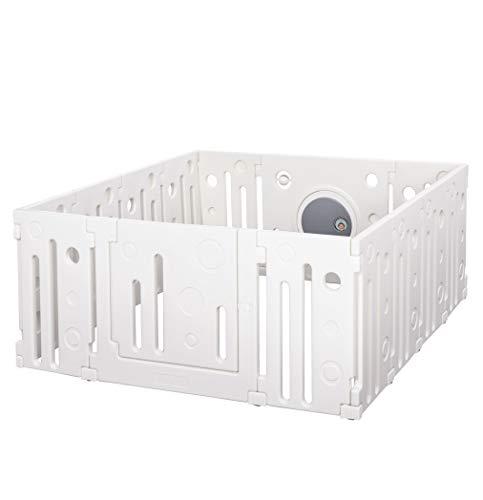 HOMCOM Baby Laufgitter, Absperrgitter,14 Elemente Schutzgitter mit Tür und Spiel für 6-36 Monate, HDPE, PP, Weiß, 153 x 150 x 64 cm