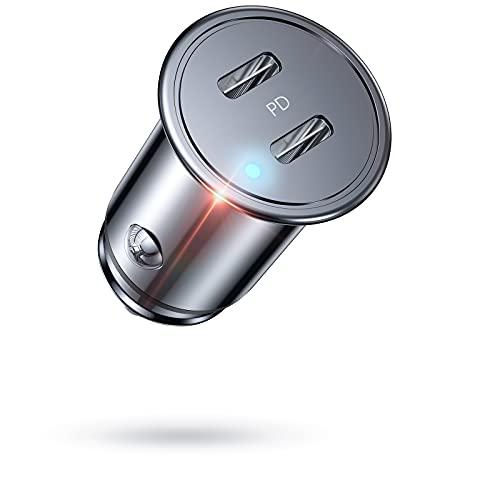 Auto Ladegerät USB C AINOPE,[Dual PD 3.0 Port] 36W 6A USB Zigarettenanzünder Adapter schnellader [Metal&Mini] USB C Ladegerät USB Kfz Ladegerät Handy Auto Kompatibel mit iPhone 12/11, Galaxy S10, iPad