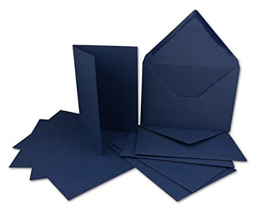 50 Kartenset mit Umschlägen Dunkelblau - DIN A6 Faltkarten 14,8 x 21 cm (160 g/m²) - DIN C6 Briefumschläge 11,4 x 16,2 cm (100 g/m²) Nassklebung - Colours-4-you