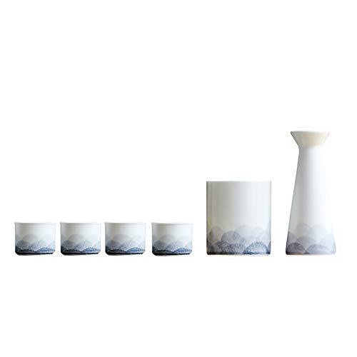 QWEASDF High-End Japanese Sake Set, Jingdezhen Ceramics, Traditionally Handmade Art, 6-Piece Set (1 Wine Bottle, 4 Wine Glasses, 1 Wine Warmer), Suitable for Pubs, Gifts, Decorations