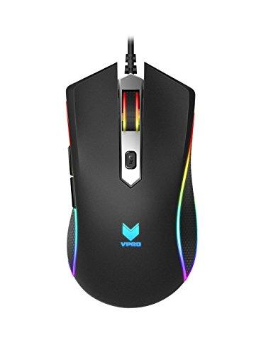 Rapoo VPRO V280 beleuchtete Gaming Maus (Bewegungsannäherungssensor, 7000 DPI, 5 programmierbare Tasten, Beleuchtungssystem 16 Mio Farben) schwarz