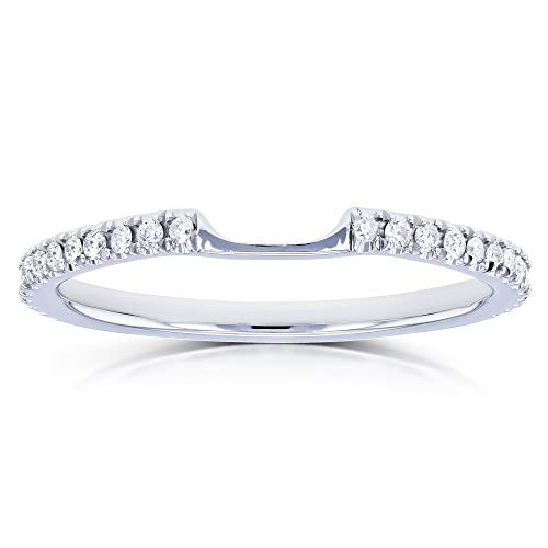 Kobelli Notched Diamond Wedding Band 1/8 Carats (ctw) in 14k White Gold, Size 6.5, White Gold (0.125 Ct Diamond)
