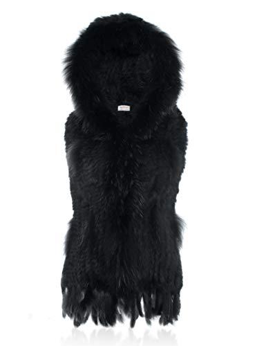 HEIZZI con capucha 100% punto genuina del chaleco caliente grueso suave