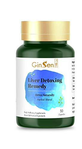 GinSen Liver Detoxing Remedy Helps Cleanse, Health, Stress, Skin Itching, Eczema, Acne, Detox, Natural Herbal Supplement, Chinese Medicine (30 Capsules)