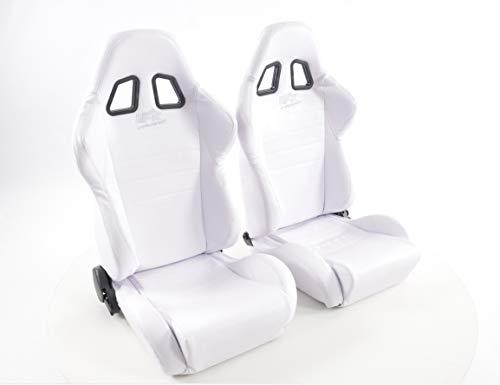 Par de asientos ergonómicos Performance Sport Racing Sacramento cuero artificial con costura blanca