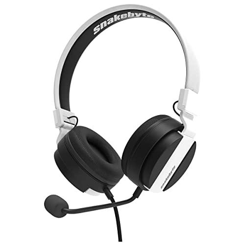 snakebyte PS5 HEADSET 5 - blanco/negro - Auriculares estéreo para juegos de PlayStation 5, controladores audio de 40 mm, micrófono desmontable, conector de 3,5 mm, compatible con PS5, Xbox, PC, Skype