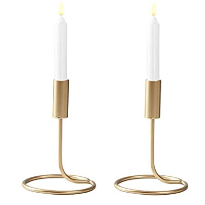 DSDecor 2 Pack Taper Candle Holder Metal Wrought Iron Candlestick Holder Table Decorative Candle Holder Stand for Party Wedding Dinning (Gold, Small)