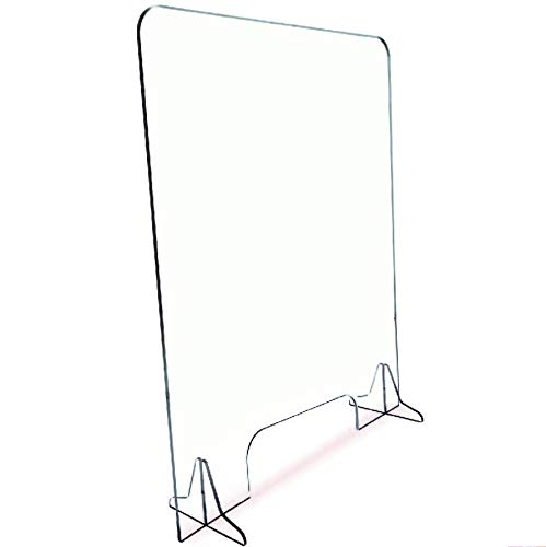 """Protective Sneeze Guard – 36""""H by 30""""W - Ships Next Day - Clear Acrylic 1/4' Thick Plexiglass Shield for Reception Desk, Counter, Transaction Window – 4'x15' Pass Thru"""