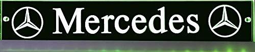 LED-Leuchtschild mit Mercedes-Stern, 30x6 cm ✓ Ideale Geschenkidee ✓ Lasergraviert | Edles LED-Schild als Truck-Accessoire | Beleuchtetes Mercedes Stern Schild für den 12/24Volt-Anschluss