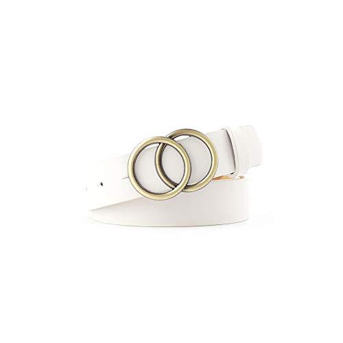 Onbekend dubbele ring vrouwen riem mode taille riem metalen gesp hart pin riem voor dames vrije tijd jurk jeans wild band