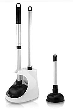 Neiko 60168A Toilet Plunger with Telescopic Aluminum Handle Cleaning Brush and Storage Caddy Set | Complete 4 Piece Bathroom Combination with Mini Sink and Drain Plunger