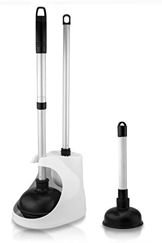 Neiko 60168A Toilet Plunger with Telescopic Aluminum Handle, Cleaning Brush and Storage Caddy Set   Complete 4 Piece Bathroom Combination with Mini Sink and Drain Plunger