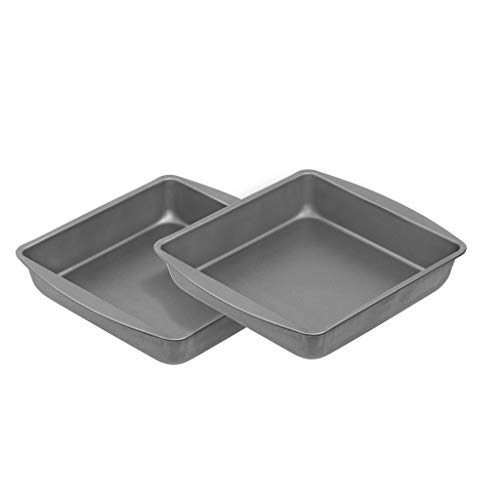 G amp S Metal Products Company OvenStuff Nonstick Square Cake Baking Pan 9#039#039 Set of 2 Gray