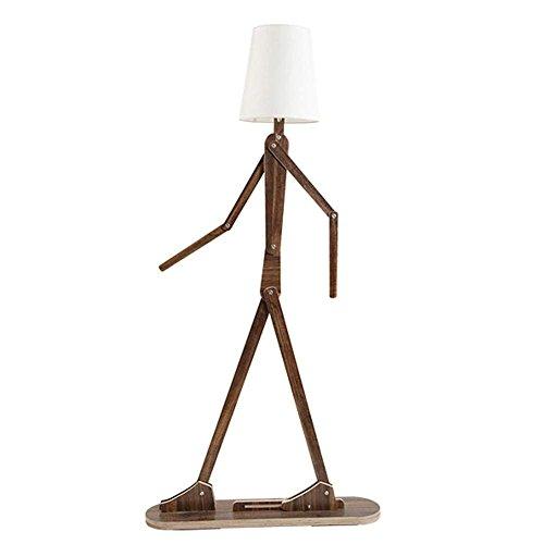 Moderne Original Design 1.6m Stehlampe Holz Verstellbar Stehleuchte mit Stoff Lampenschirm Weiß e27 Standleuchten Wohnzimmer Schlafzimmer Büro Charakter-Modellierung Innenbeleuchtung, Teakholz