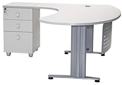 furni24 Schreibtisch Chefschreibtisch Schreibtisch Winkeltisch Gela grau Links gewinkelt inkl. Beistellcontainer mit 3 Schubladen