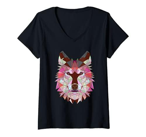 Mujer Logo Geométrico Origami Arte abstracto poligonal de animales Camiseta Cuello V