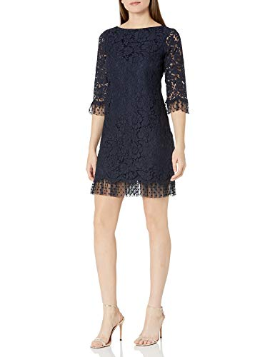 Vince Camuto Women's Lace and Flock Dot Mesh Three Quarter Sleeve Shift, Navy, 8