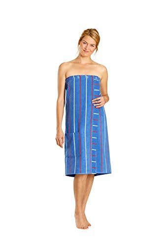Betz Damen Saunakilt mit Knöpfen 100% Baumwoll-Frottee Farbe blau gestreift