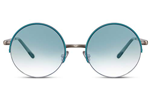Cheapass Gafas de Sol Redondas Plateadas Metálicas con Azul Borde Festival Gafas de sol con Azul Graduales Cristales Translúcidos UV400 Hombres Mujeres