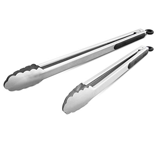 304 Stainless Steel Kitchen Cooking Tongs, 14' and 16' Set of 2 Sturdy Grilling Barbeque Brushed Locking Food Tongs with Ergonomic Grip, Black