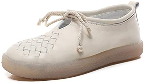 YAN Damenschuhe Low-Top Casual schuhe Loafers & Slip-Ons Oxford Oxford Oxford Soles Moccasins Woven Flat-Slip Schuhe Mutterschuhe Mutter Schuhe,Beige,34  sehr berühmt