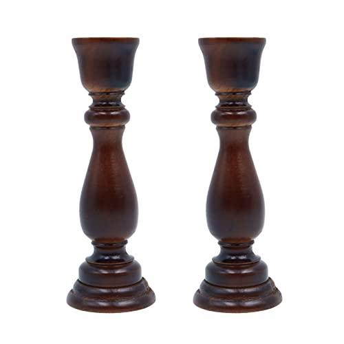 Shiwaki 17x6x2.2cm Candelabros de Madera Portavelas Antiguo Artesanía Vintage Palo de Vela marrón para Mesa de Comedor Adornos de Iglesia - Estilo Vintage