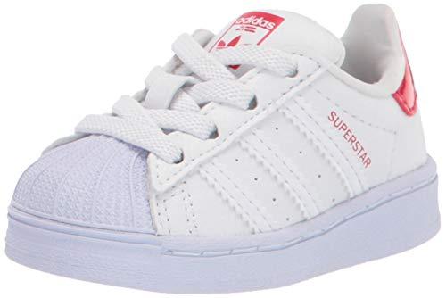 adidas Originals Kids Superstar Shoes Sneaker, White/White/Scarlet, 8.5 US Unisex Toddler