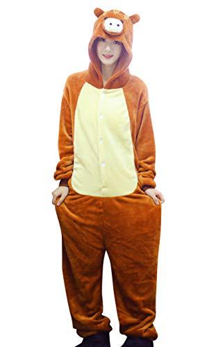 MARRYME-Unisex Pijama Mono Hombre Mujer Disfraces para Adultos Onesies Abrigados en Invierno Ropa de Cosplay Forma de Cerdo de Dibujos Animados de Animales 100% Polister con Sombrero Desmontable