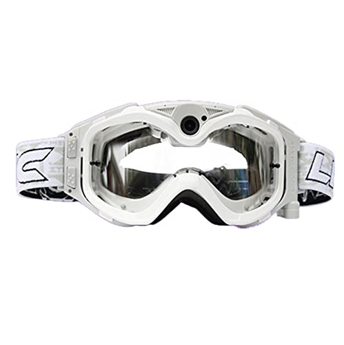 LZJDS Gafas para Cámara Todoterreno Cámara para Correr Grabadora De Conducción De Motocicletas Gafas De Esquí Gafas Harley,Blanco,720P