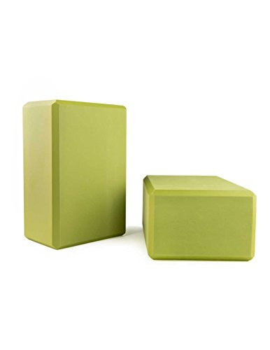"Nu-Source Yoga Block 9"" x 6"" x 4"" - Green, 2 Pack"