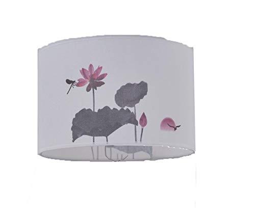 C-J-H Pantalla de Escritorio E27 Blanca, patrón Floral Abstracto, Tela Textil,35CM