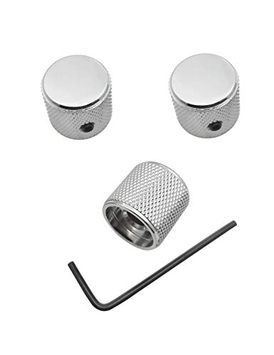 """Telecaster/Precision Bass Control Knobs with 1/4"""" (6.4mm) Dia. Shaft Pots - Set of 3 Knurled Potentiometer Dome Knob - Chrome"""
