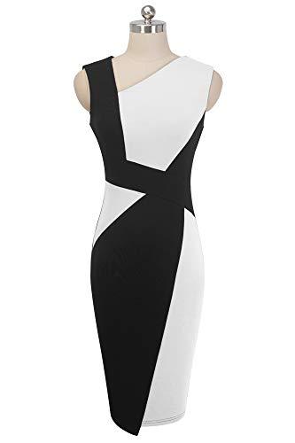 HOMEYEE Vestido sin Mangas de Negocios con Contraste en Color elástico Vintage de Mujer B517 (EU 42 = Size XL, Blanco + Negro)