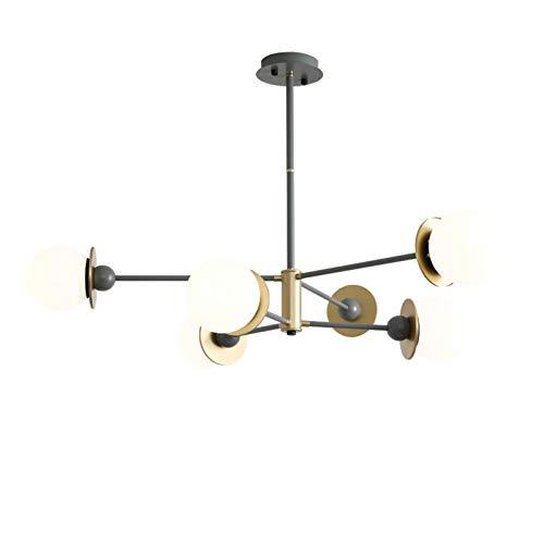 Sputnik Lámpara De Techo,Altura Adjustable Decora Lámpara Colgante,E27 Lampara De Techo Sala Restaurante Luz Colgante-Oro y gris 6t
