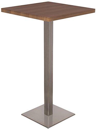 SixBros. Bartisch Stehtisch Bistrotisch Nussbaum Holzoptik 60x60x105 - M-BT60H/1432
