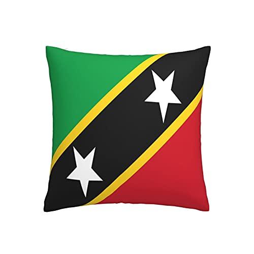 Kissenbezug, Motiv: Flagge von Saint Kitts und Nevis, quadratisch, dekorativer Kissenbezug für Sofa, Couch, Zuhause, Schlafzimmer, für drinnen & draußen, 45,7 x 45,7 cm
