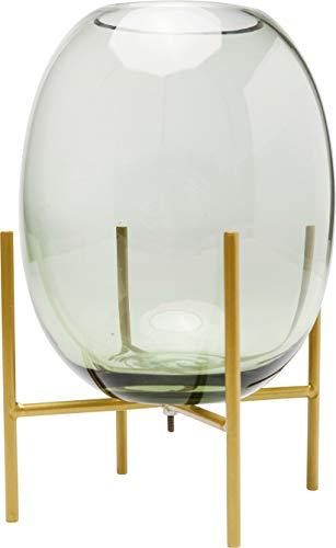 Kare Design Vase Stilt Grün 23cm, Glasvase mit Gestell in der Farbe Gold, grazile Vase in Ovaler Form, Verschiedene Ausführungen erhältlich (H/B/T) 22,5x15x15cm