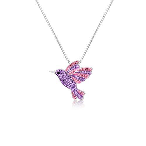 Purple & Lilac Rainbow Flying Hummingbird Crystal Pendant Necklace