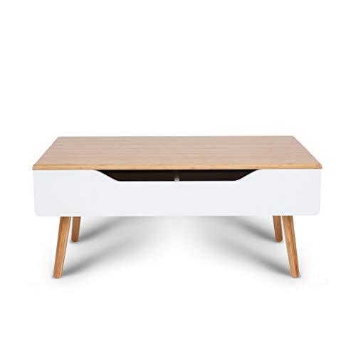 Chx Mesa de Centro pequeña Mesa de Comedor Multifuncional de bambú con...