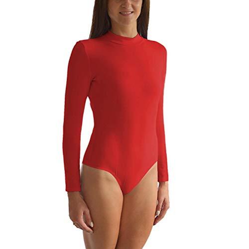 Alkato Body para Mujer con Cuello Alto y Manga Larga, Rojo, 42