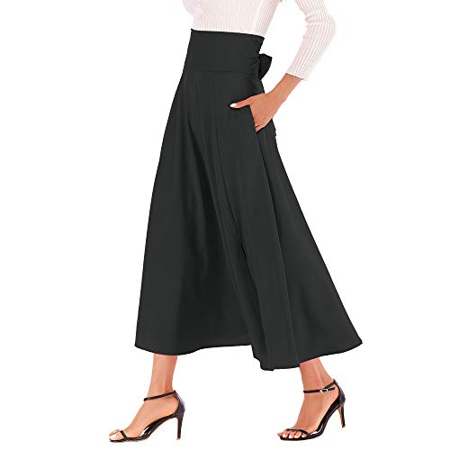 IFOUNDYOU Damen Rock A Linie Elegante Hohe Taille 50er Jahre Schottischen Vintage mit Taschen Mode Faltenrock Frauen Langen Gürtel Seitenschlitz Plissiert Arbeit Röcke Midi Oder Lang