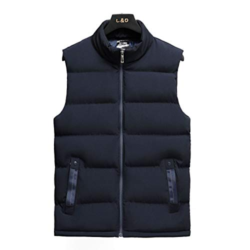Men's Stand Jacket Vest Nylon With Zipper Sleeveless Jackets Gilet Quilted Puffer Waistcoat Jacket for Work Party